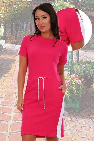 Платье Состав: 95% хлопок, 5% лайкра, ткань: пике. Платье спортивного покроя из ткани лакоста (пике) с заниженой по талии кулисой со шнуром. Контрастная отделка на рукавах и по низу юбки. Ткань устойч