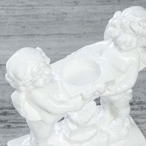 """Сувенир """"Пара ангелов с подсвечником"""", 18 см, белый"""