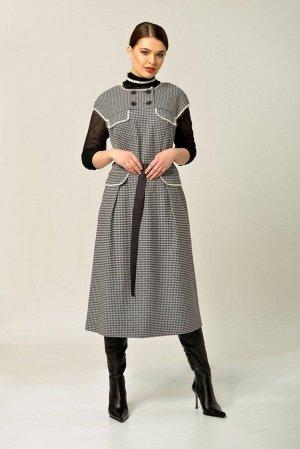 Платье Платье Anna Majewska А289  Состав ткани: Вискоза-39%; ПЭ-59%; Спандекс-2%;  Рост: 170 см.  Платье без рукава полуприлегающего силуэта расклешенное от талии со спущенной проймой. Отрезная кокет