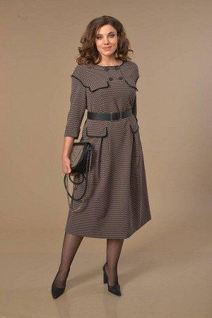 Платье Платье Anna Majewska А300  Состав ткани: Вискоза-39%; ПЭ-59%; Спандекс-2%;  Рост: 170 см.  Платье полуприлегающего силуэта расклешенное от талии со спущенной проймой рукава. Отрезная кокетка с
