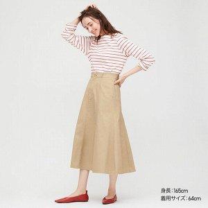 Длинная юбка из хлопка (высокая талия, длина 80-84см),бежевый
