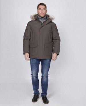 . Коричневый;    Куртка мужская 57130 Семь наружных карманов, четыре внутренних кармана, в том числе карман для телефона, отстегивающийся капюшон с опушкой из меха енота, мех отстёгивается от капюшон