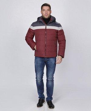 . Бордовый; Синий;     Пуховик мужской 57264 Два наружных кармана, три внутренних кармана на молниях, отстегивающийся капюшон, регулируемая кулиса по низу куртки, трикотажный теплоудерживающий манжет