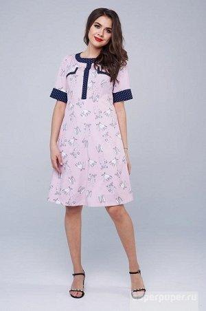 Платье Летнее платье из пластичного и непрозрачного крепа. Платье прилегающего силуэта с расклешенной притачной юбкой. Лиф платья с декоративной вставкой по горловине и центру переда из контрастной от
