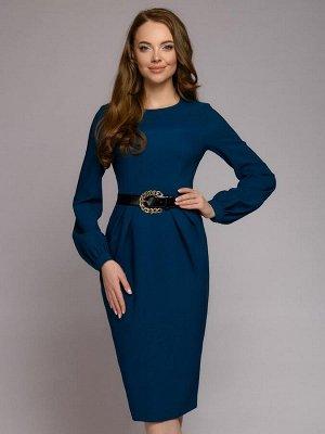 Платье цвета морской волны длины миди с пышными рукавами и декоративной драпировкой