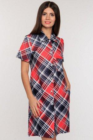#51314 Платье-рубашка красно-синий