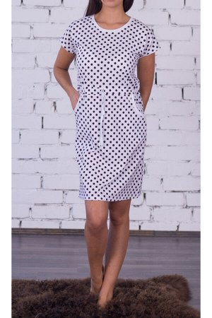 #92470 Платье Белый/горох