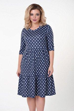 Платье Любовь №23.Цвет:т.синий/горох