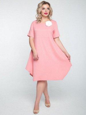 Платье Женственное платье свободного силуэта из костюмной ткани однотонной расцветки с оригинальным фигурным низом. - однотонная расцветка - круглый вырез горловины - рукава втачные, укороченные - о