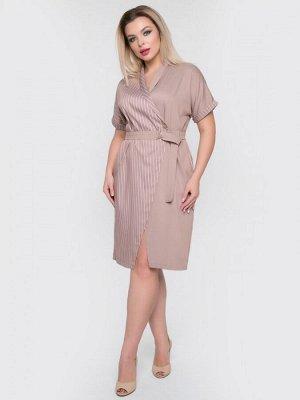 """Платья Платье свободного силуэта, выполнено из плательной ткани джинс """"Тенсил"""" полоска. Модель с запахом и поясом. - расцветка однотонная и принт""""полоска"""" - верх с V-образным вырезом и """"шалевым"""" воро"""