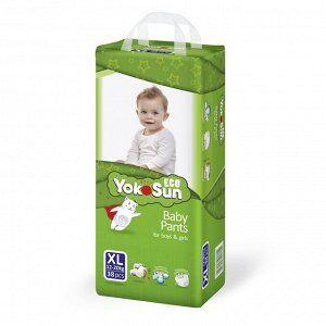 Одноразовые детские подгузники-трусики YokoSun Eco размер XL (12-20 кг), 38 шт.