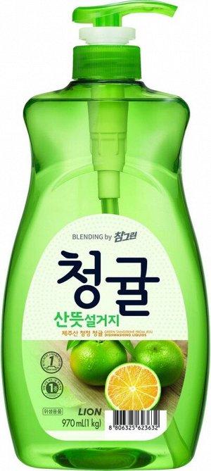LION Концентрированное средство для мытья посуды Chamgreen Зеленый цитрус, флакон, 970 мл