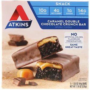 Шоколадный батончик Atkins, хрустящий батончик с карамелью и двойным шоколадом (44 г)