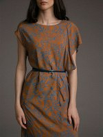 Платье с драпировкой PL1036/leaf