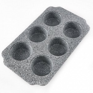 "Форма для выпечки 6 кексов 30х18х3см BE-4608N-1 ""Marble"""