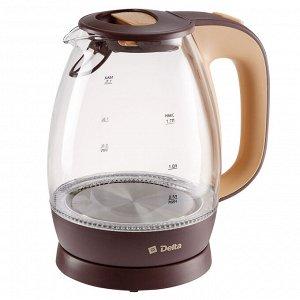 Чайник электрический 2200 Вт, 1,7 л DL-1203 коричневый с бежевым