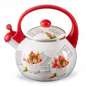 """Чайник 2,5 л со свистком ЕМ-25101/38 """"Тюльпаны"""""""