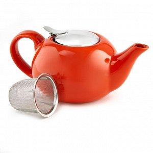 Чайник заварочный 750 мл с металлическим фильтром Ф19-010R оранжевый