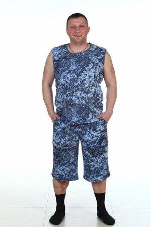 Костюм хлопок 100% Описание: Костюм мужской состоящий из майки и шорт. Майка с широким плечом. Шорты до колена с карманами.