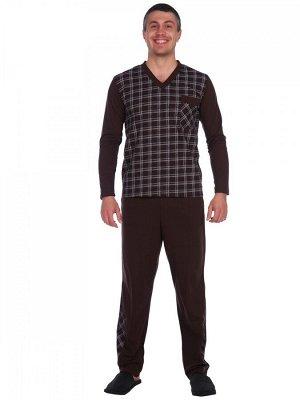 Пижама хлопок 100% Описание: Пижама мужская состоящая из кофты и брюк. Джемпер с длинным втачным рукавом, горловина имеет V-образный вырез и карман. Перед - клетка, рукава и спинка однотонные. Брюки п