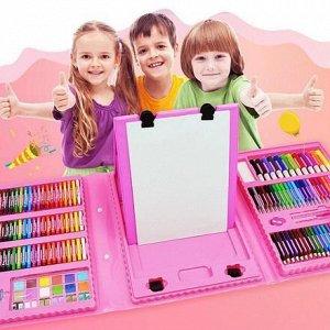 Набор юного художника с мольбертом розовый