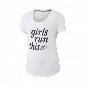 Футболка детская Модель: G NSW TEE SCOOP GIRLS RUN THIS Бренд: Ni*ke