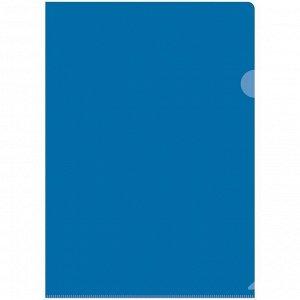 Папка-уголок А4 150мкм, прозрачная синяя
