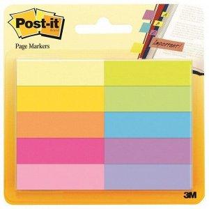 Флажки-закладки Post-it, бумажные, 44*12,7мм, 50л*10 цветов, блистер
