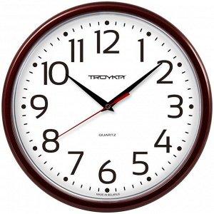 Часы настенные ход плавный, Troyka 91931912, круглые, 23*23*3, бордовая рамка
