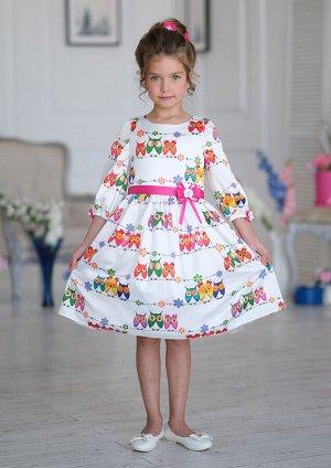 Платье Состав: верх 100% полиэстер, подклад 100% хлопок Платье из принтованного атласа. Платье отрезное по линии талии с застёжкой на молнию от горловины по среднему шву спинки. Спинка лифа с талиевым