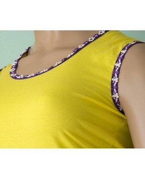 Майка Майка на широкой бретельки из высококачественного хлопка с отделкой фиолетовые цветочки на фиолетовом фоне . Хлопок 100%. Цвет желтый