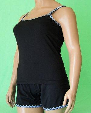 Комплекты Комплект майка на бретельке с волнистой отделкой синего цвета и шорты с такой же отделкой. Хлопок 100%. Цвет комплекта черный.