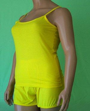 Комплекты Комплект майка на бретельке и шорты из высококачественного хлопка. Хлопок 100%. Цвет черный, белый, красный, зеленый, голубой, фиолетовый, светло розовый, ментоловый, желтый, оранжевый. В ко
