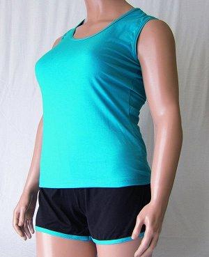 Комплекты Комплект майка с широкой бретелькой и шорты черного цвета с цветной отделкой из высококачественного хлопка. Хлопок 100%. Цвет майки белый, красный, зеленый, голубой, фиолетовый, светло розов