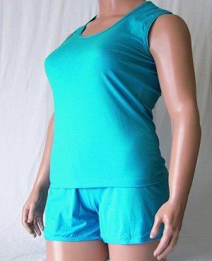 Комплекты Комплект майка с широкой бретелькой и шорты из высококачественного хлопка. Хлопок 100%. Цвет черный, белый, красный, зеленый, голубой, фиолетовый, светло розовый, ментоловый, желтый, оранжев