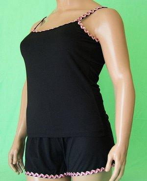 Комплекты Комплект майка на бретельке с волнистой отделкой красного цвета и шорты с такой же отделкой. Хлопок 100%. Цвет комплекта черный.