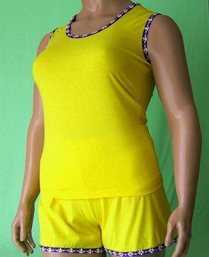 Комплекты Комплект майка с широкой бретелькой отделка фиолетовый цветочек на фиолетовом фоне и шорты с такой же отделкой из высококачественного хлопка. Хлопок 100%. Цвет комплекта желтый.