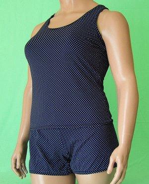 Комплекты Комплект майка с узкой бретелькой и шорты. Хлопок 100%. Цвет комплекта темно синий с белым горошком.