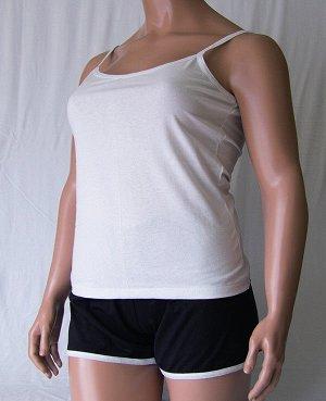 Комплекты Комплект майка на бретельке и шорты черного цвета с цветной отделкой из высококачественного хлопка. Хлопок 100%. Цвет майки белый, красный, зеленый, голубой, фиолетовый, светло розовый, мент