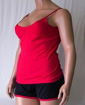 Комплекты Комплект майка с глубоким вырезом и шорты черного цвета с цветной отделкой из высококачественного хлопка. Хлопок 100%. Цвет майки белый, красный, зеленый, голубой, фиолетовый, светло розовый
