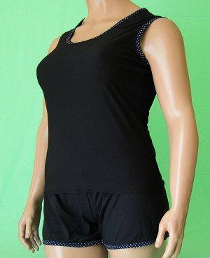 Комплекты Комплект майка с широкой бретелькой и шорты. Хлопок 100%. Цвет комплекта черный.