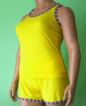 Комплекты Комплект майка с узкой бретелькой отделка фиолетовый цветочек на фиолетовом фоне и шорты с такой же отделкой из высококачественного хлопка. Хлопок 100%. Цвет комплекта желтый.