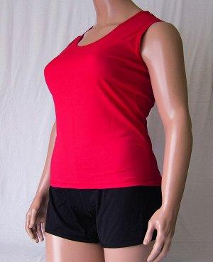 Комплекты Комплект майка с широкой бретелькой и шорты черного цвета из высококачественного хлопка. Хлопок 100%. Цвет майки белый, красный, зеленый, голубой, фиолетовый, светло розовый, ментоловый, же