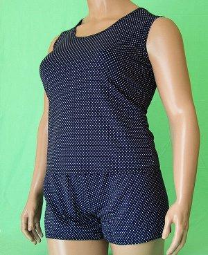 Комплекты Комплект майка с широкой бретелькой и шорты. Хлопок 100%. Цвет комплекта темно синий с белым горошком.