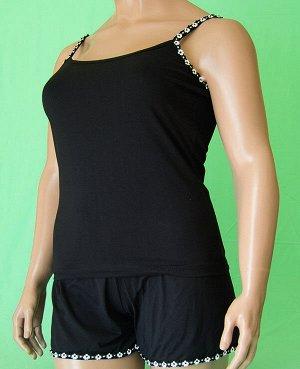Комплекты Комплект майка на бретельке отделка черно белый цветочек и шорты с такой же отделкой из высококачественного хлопка. Хлопок 100%. Цвет комплекта черный.