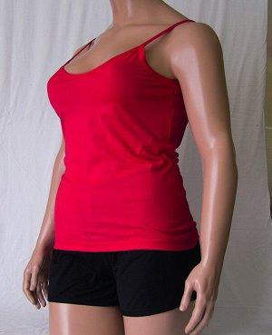 Комплекты Комплект майка с глубоким вырезом и шорты черного цвета из высококачественного хлопка. Хлопок 100%. Цвет майки белый, красный, зеленый, голубой, фиолетовый, светло розовый, ментоловый, желты