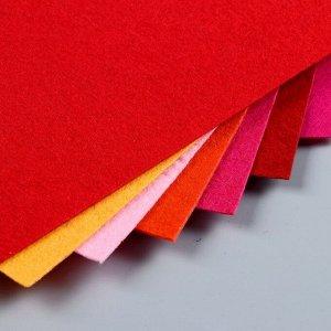 Набор  фетра (жесткий)  1 мм 20х30 см 10 листов цв. красный ассорти