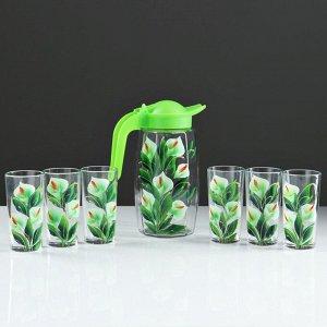 """Набор для сока """"Каллы"""" художественная роспись, 6 стаканов 1250/200 мл"""