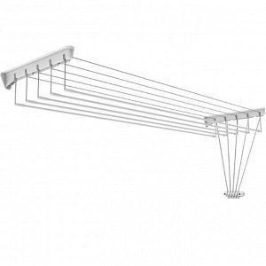 Сушилка для белья настенно-потолочная СНП 1.4, рабочая длина 7 м, цвет белый