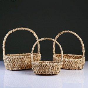Набор корзин плетеных из 3-х 31х26 h12 H37; 26х22 h11 H34; 23х18 h9H30см.(кукуруза)